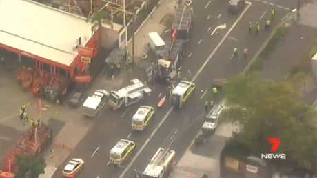 The crash has caused traffic chaos in Alexandria. Picture: Seven News