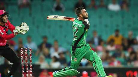 Maxwell smashes a boundary against the Sydney Sixers during last season's Big Bash. Picture: Phil Hillyard