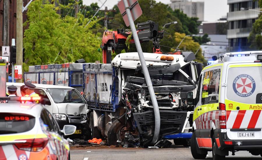The scene of the crash at Green Square in Sydney on Wednesday morning. Picture: AAP