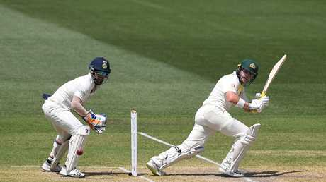 Australian opening batsman Marcus Harris in action on debut in the first Test match between Australia and India.