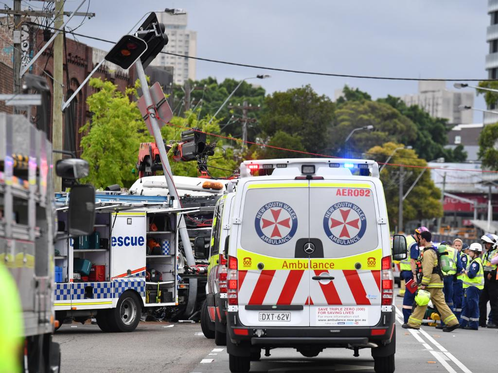 The scene of a truck crash on Botany Rd in Sydney, Wednesday, December 12, 2018. Picture: AAP Image/Mick Tsikas