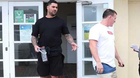 Paul Gallen and Andrew Fifita leave North Cronulla Surf Club. (Brett Costello)