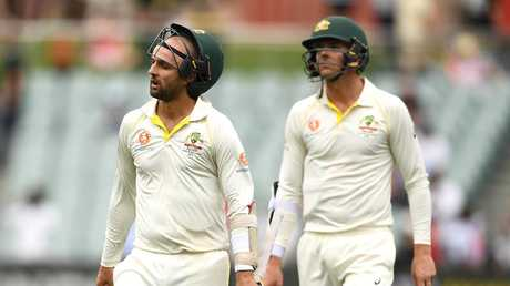 Nathan Lyon and Josh Hazlewood after the heartbreaking loss. Picture: Getty