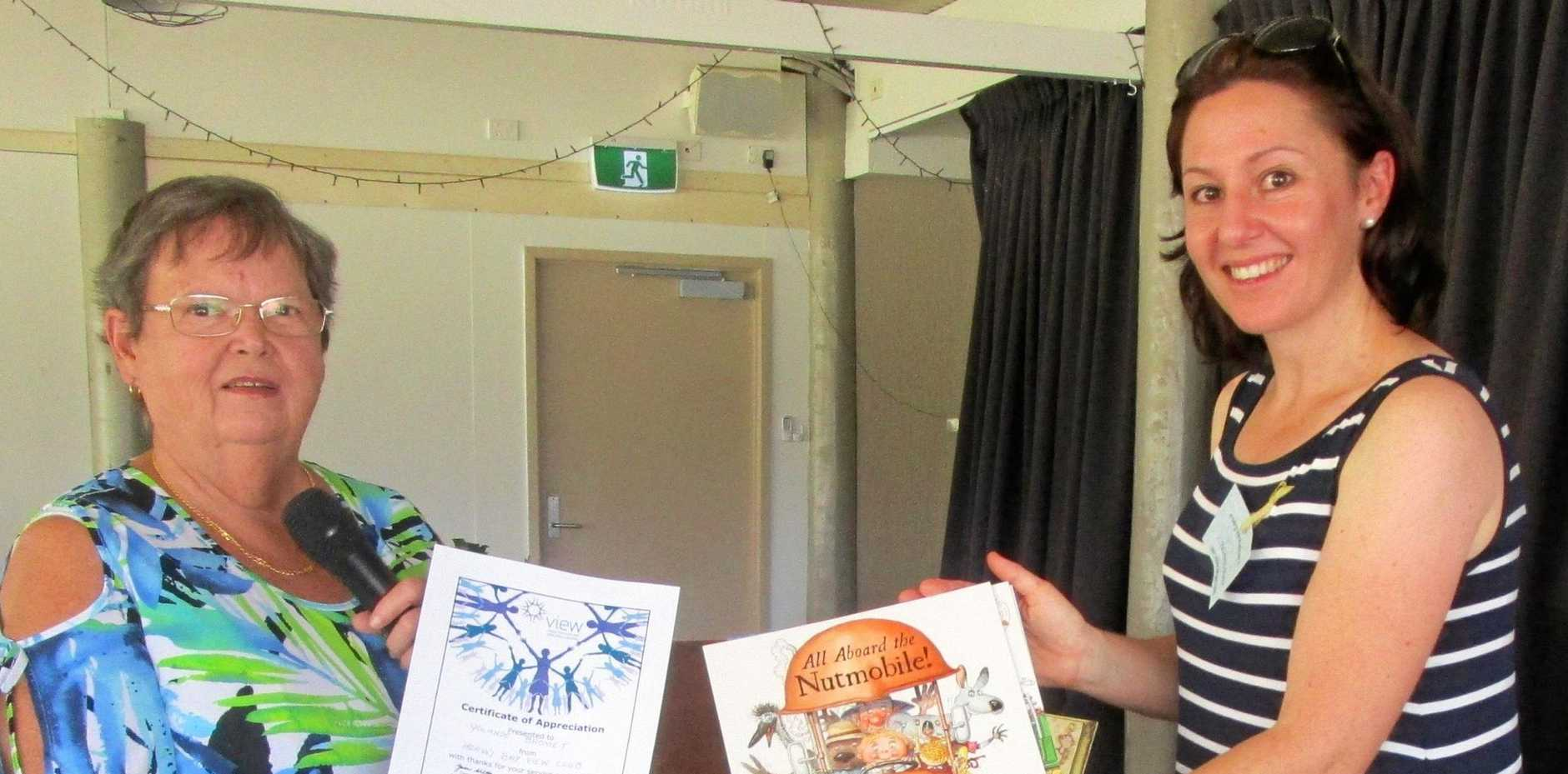 BOOK TALK: Hervey Bay VIEW Club president Heather Ramm with guest speaker Yolande Bromet.