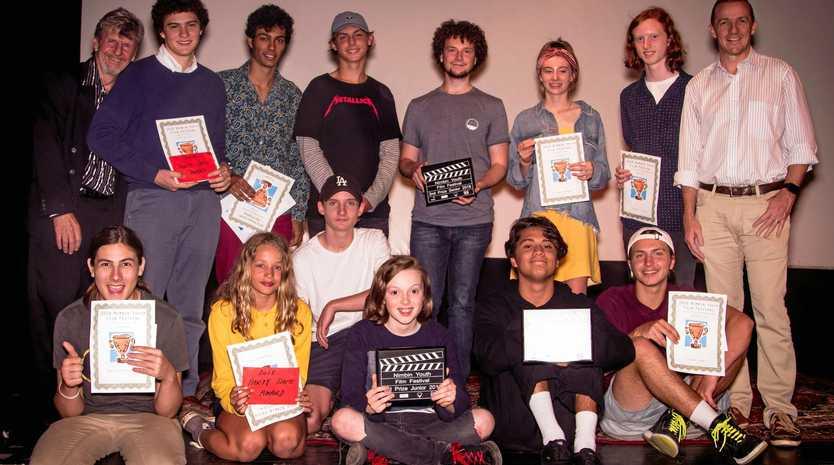 TOP TALENT: Nimbin Youth Film Festival winners with mayor Isaac Smith and organiser Darmin Cameron.