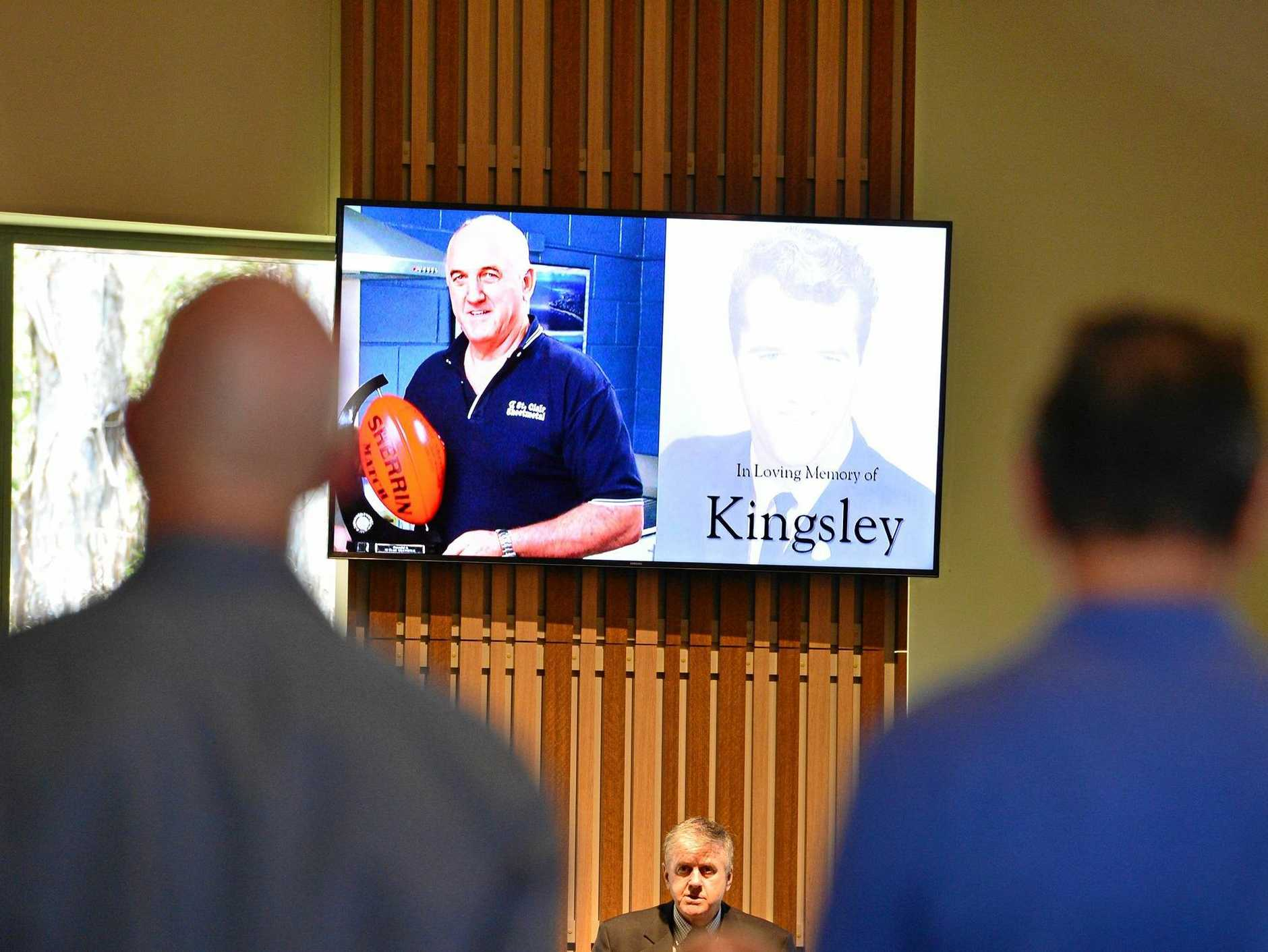 The funeral of Kingsley St Clair in Maroochydore. He was a Maroochydore Australian Football former president and hall of famer .
