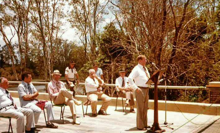 The former Member for Burnett Claude Wharton addresses the community at the opening of the Kolan River Bridge on December 16, 1978.