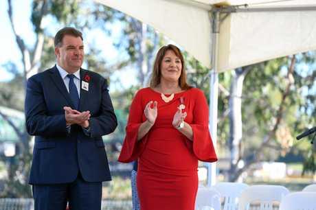 ANZAC DAY: Bundaberg Civic Service. Member for Burnett Stephen Bennett and Cr Helen Blackburn.