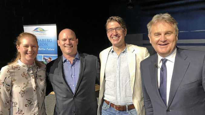 ECONOMY: Bernard Salt with panel members for this year's Hinkler Innovation Series Breakfast.