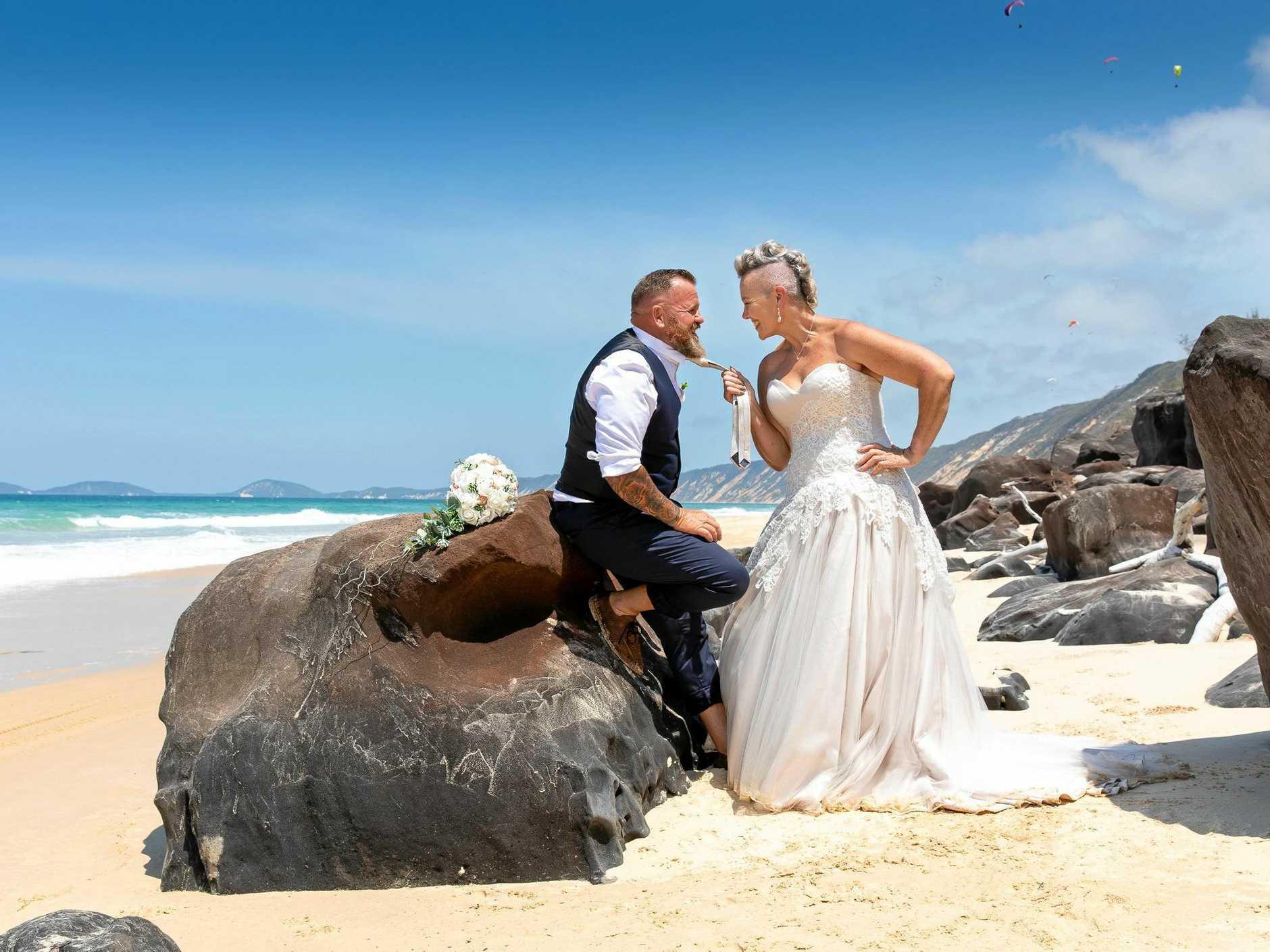Craig and Sonya Partridge at their wedding at Rainbow Beach.