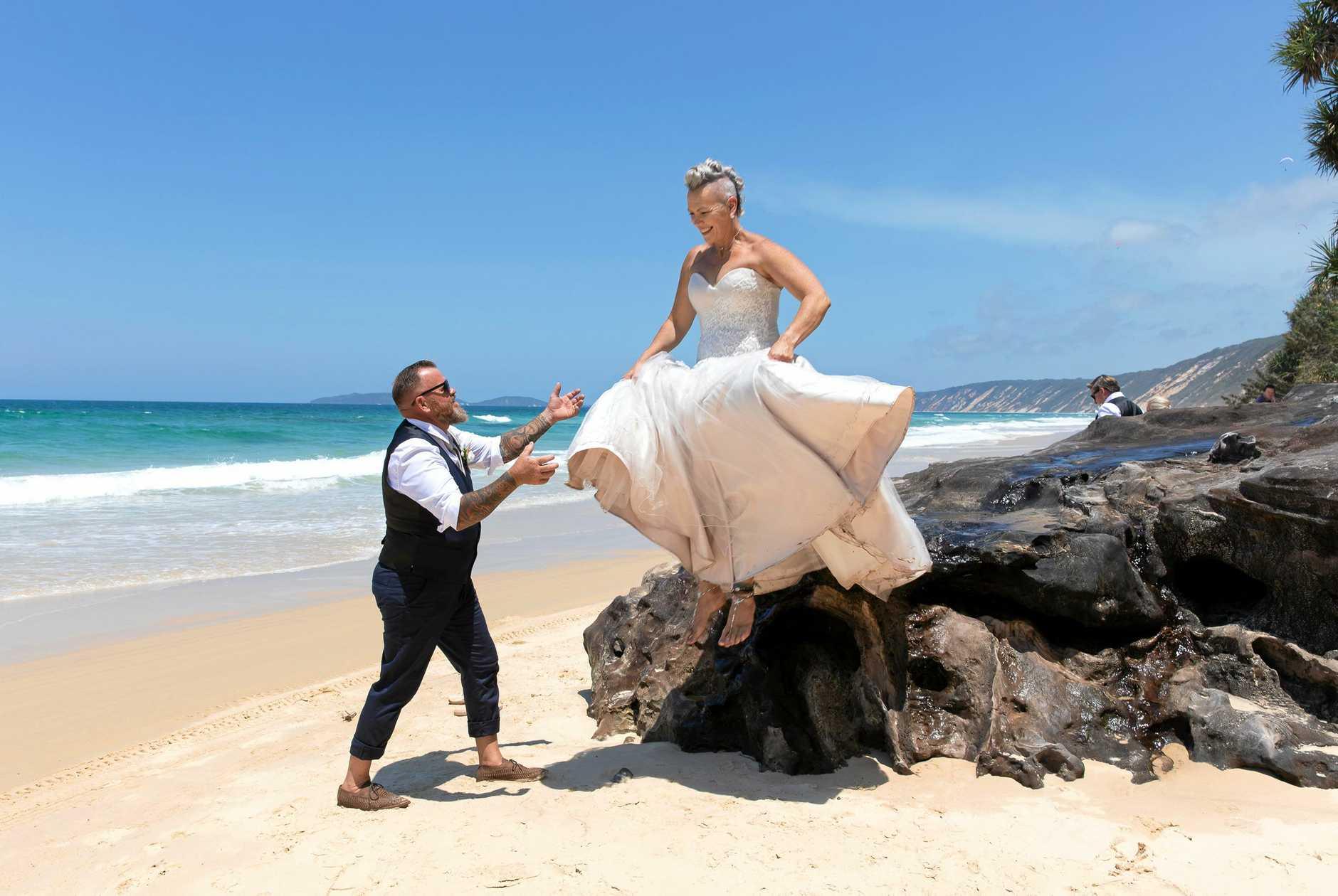Craig and his wife Sonya Partridge at Rainbow Beach.