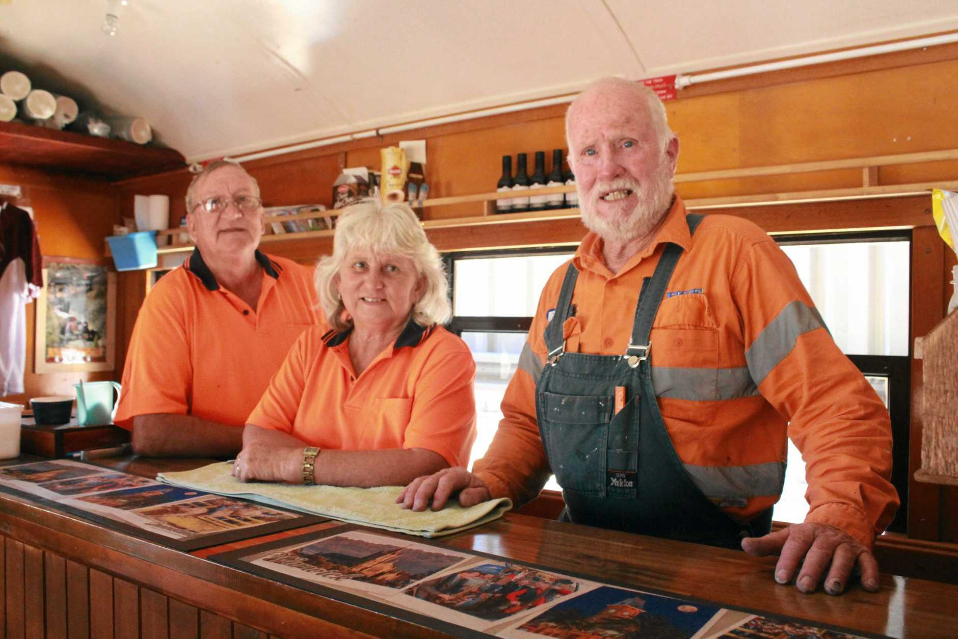 IN FINE FETTLE: Southern Downs Steam Railway volunteers Stuart Wilson, Julie-Anne Adams and Darryl Adams, wouldn't be anywhere else on a Thursday.