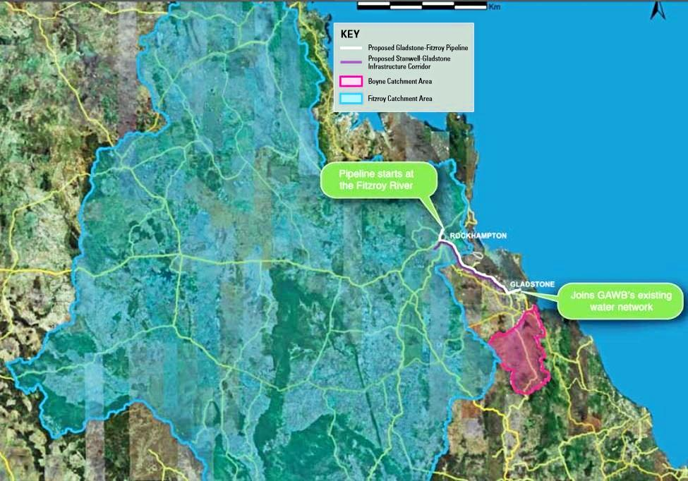 A comparison between the two catchment areas, one for Rookwood Weir in blue and Lake Awoonga in pink.