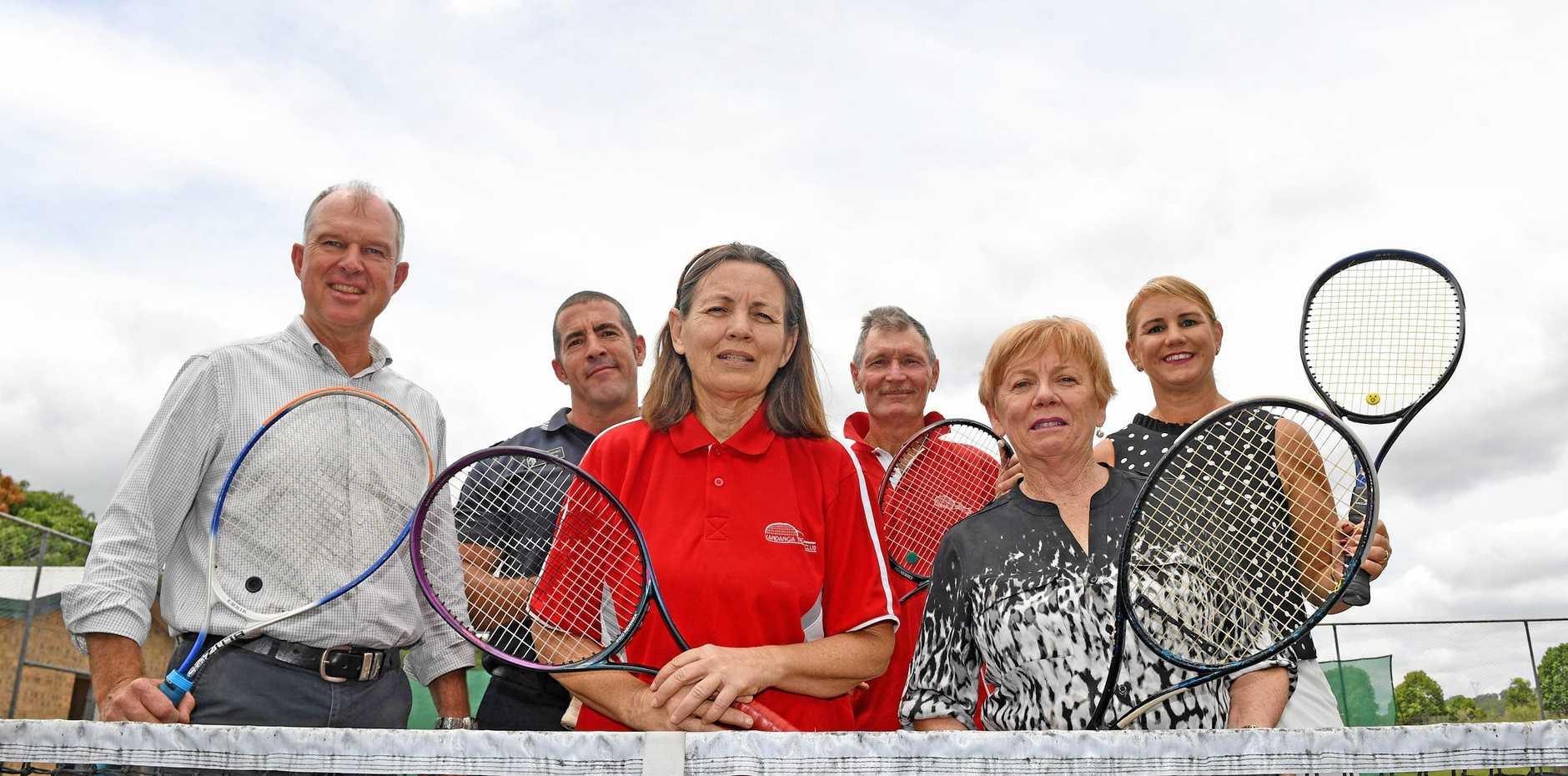 HITTING NEW HEIGHTS: Gympie MP Tony Perrett, Senior Constable Bill Greer, club treasurer Steve Banney, Michele Perrett, Margaret Gillett and Julie Worth at the Kandanga Tennis Club.