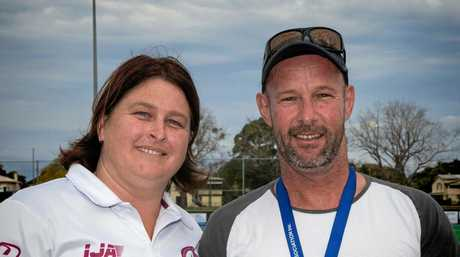 HONOUR: Grafton Hockey Association Lyn Newby with Rick Sampson, who has been honoured with a life membership in recognition of his coaching work.