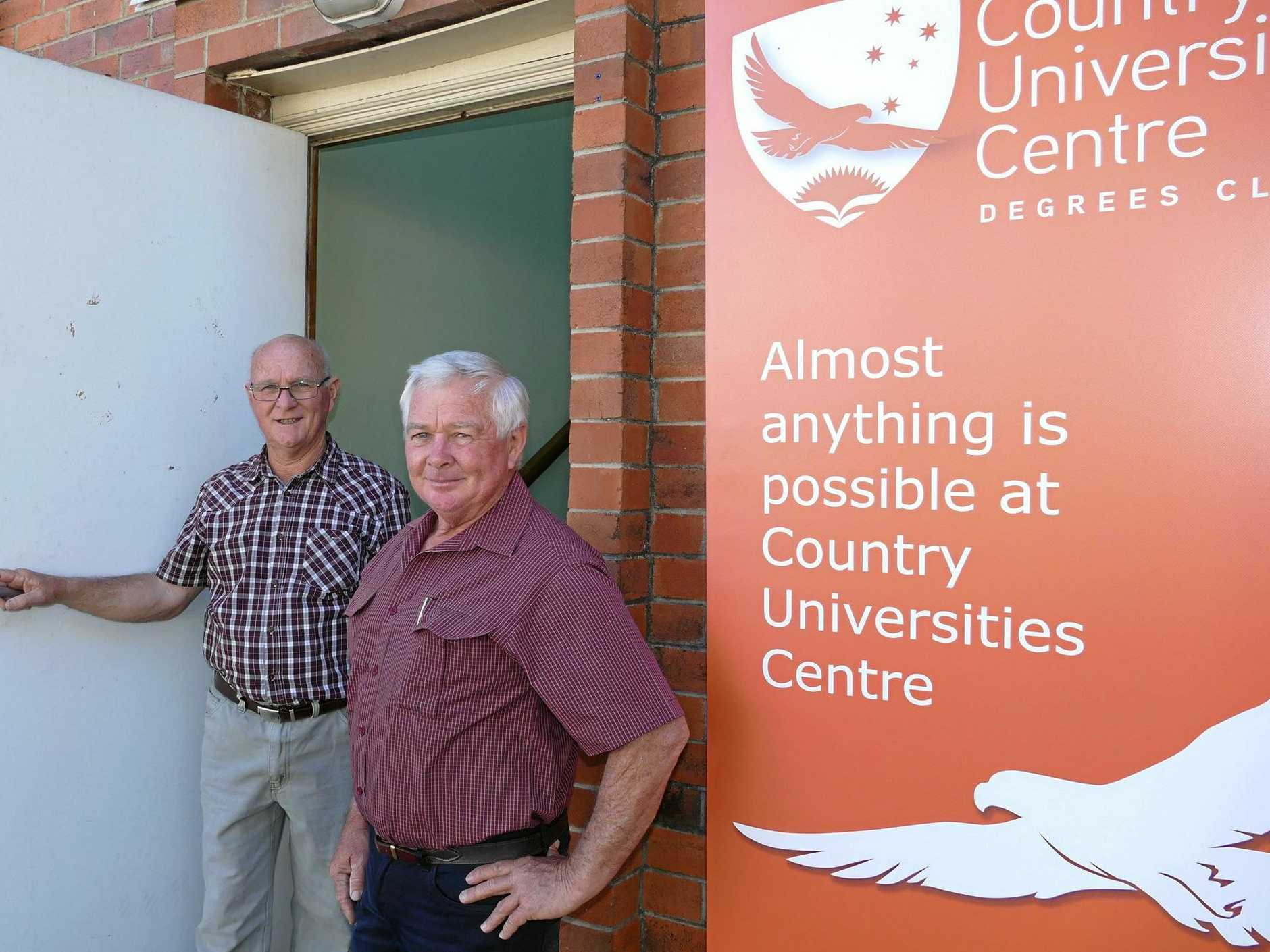 Building owners The Smidt family, Merv, centre, Col and his wife Cindy have been generous with a rent honeymoon for the proposed Country University Centre at 146 Pound St, Grafton.