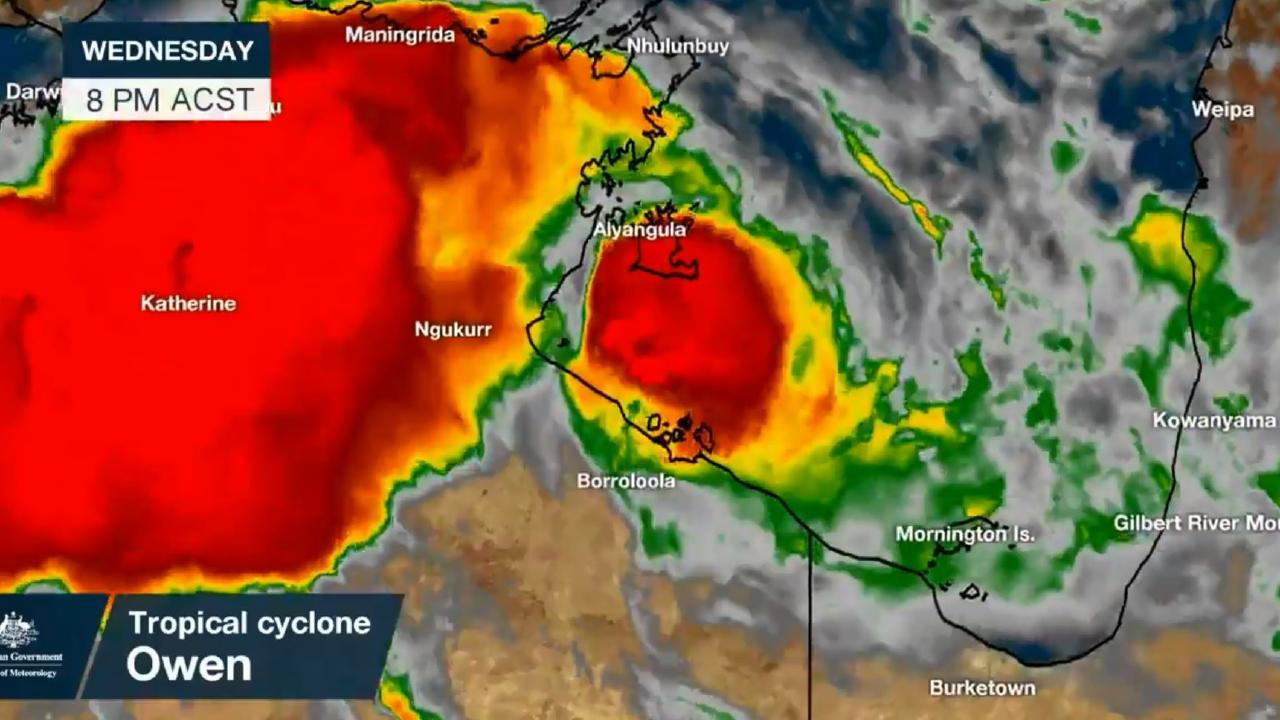 Expected rainfall associated with Tropical Cyclone Owen in the Gulf of Carpentaria. Picture: Bureau of Meteorology