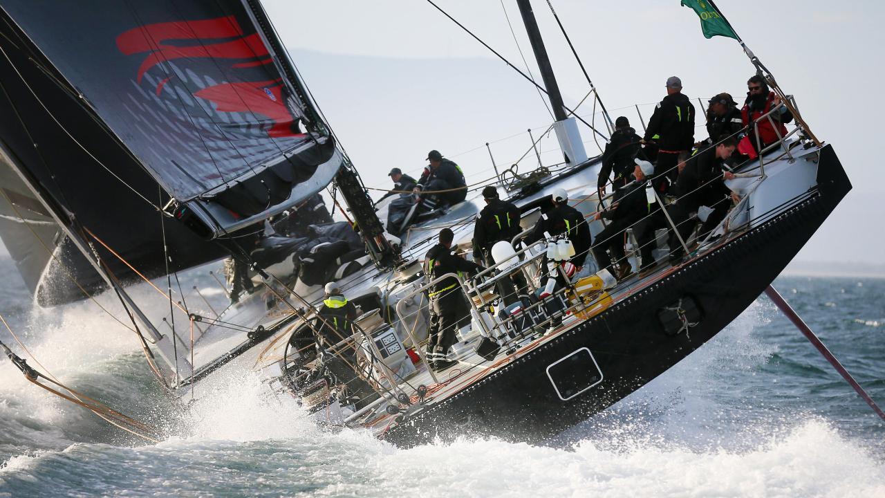 LDV Comanche sails across Storm Bay towards her line honours win.