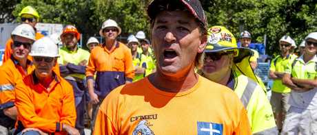 CFMEU member Scott Vink claims Jewel developer Yuhu Group is behind a major payment to head contractor Multiplex. Picture: Jerad Williams