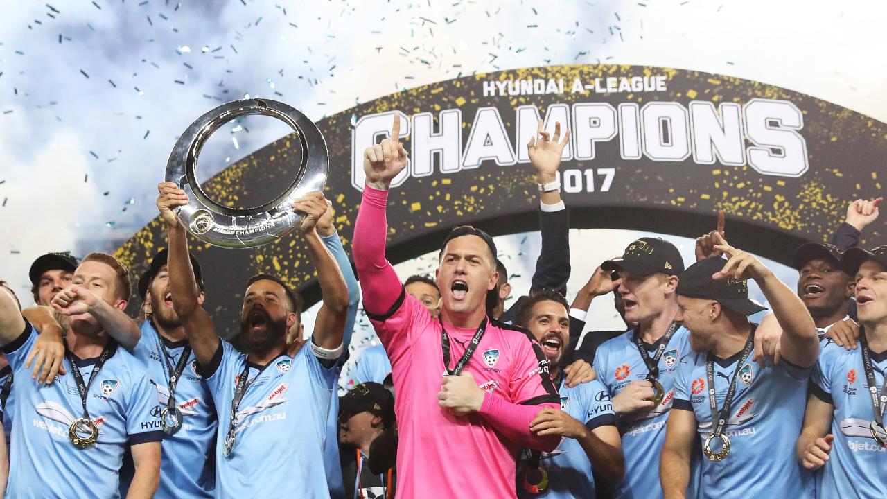 Sydney FC celebrate victory after the 2017 A-League Grand Final between Sydney FC and Melbourne Victory at Allianz Stadium, Sydney. Picture: Brett Costello