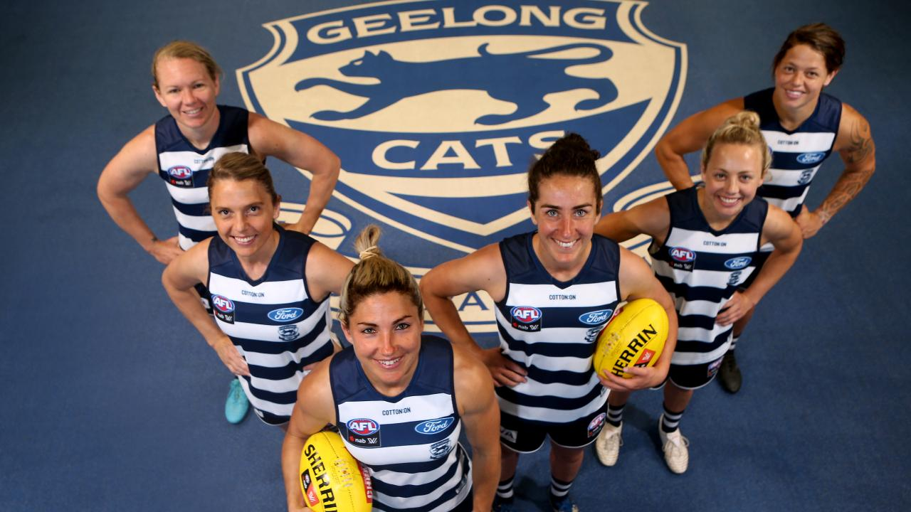 Geelong's AFLW leadership group, from left, Aasta O'Connor, Anna Teague, Melissa Hickey (Captain), Rebecca Goring (Vice Captain), Renee Garing and Richelle Cranston. Pic: Glenn Ferguson