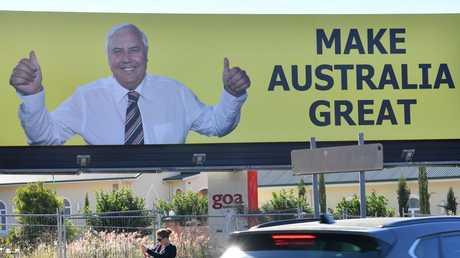 A billboard featuring Clive Palmer in inner Brisbane. Picture: Darren England/AAP