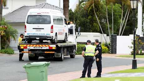Police at the scene where a child was runover by a maxi-taxi on Sovereign Island. Picture: Nigel Hallett