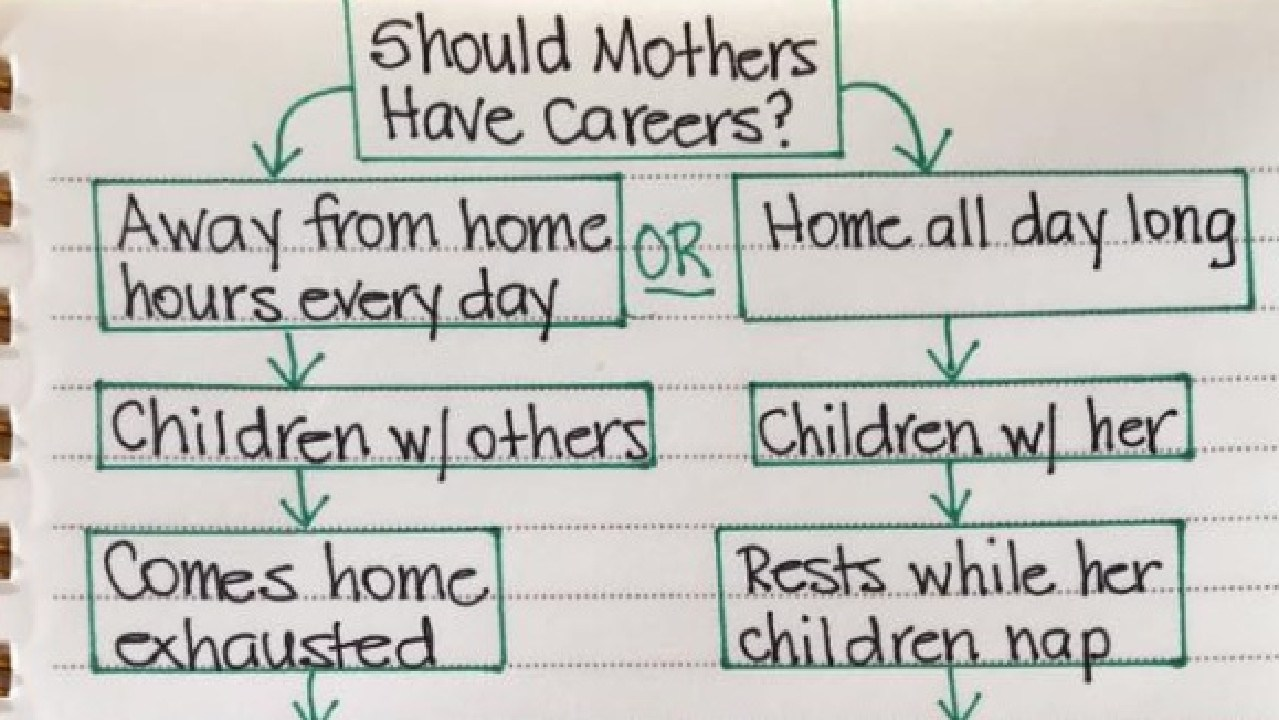 A blogger has come under fire after she posted a 'horrible' chart comparing stay-at-home and working mums to her Facebook page.