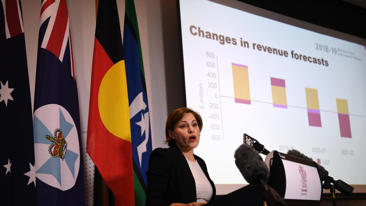 Queensland Treasurer Jackie Trad delivers the MYFER. Picture: AAP/Dan Peled