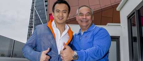 Gold Coast Mayor Tom Tate and Yuhu Group Australia director, Jimmy Huang, enjoying the Jewel International Kite Festival at Surfers Paradise earlier this year. Picture: Jerad Williams