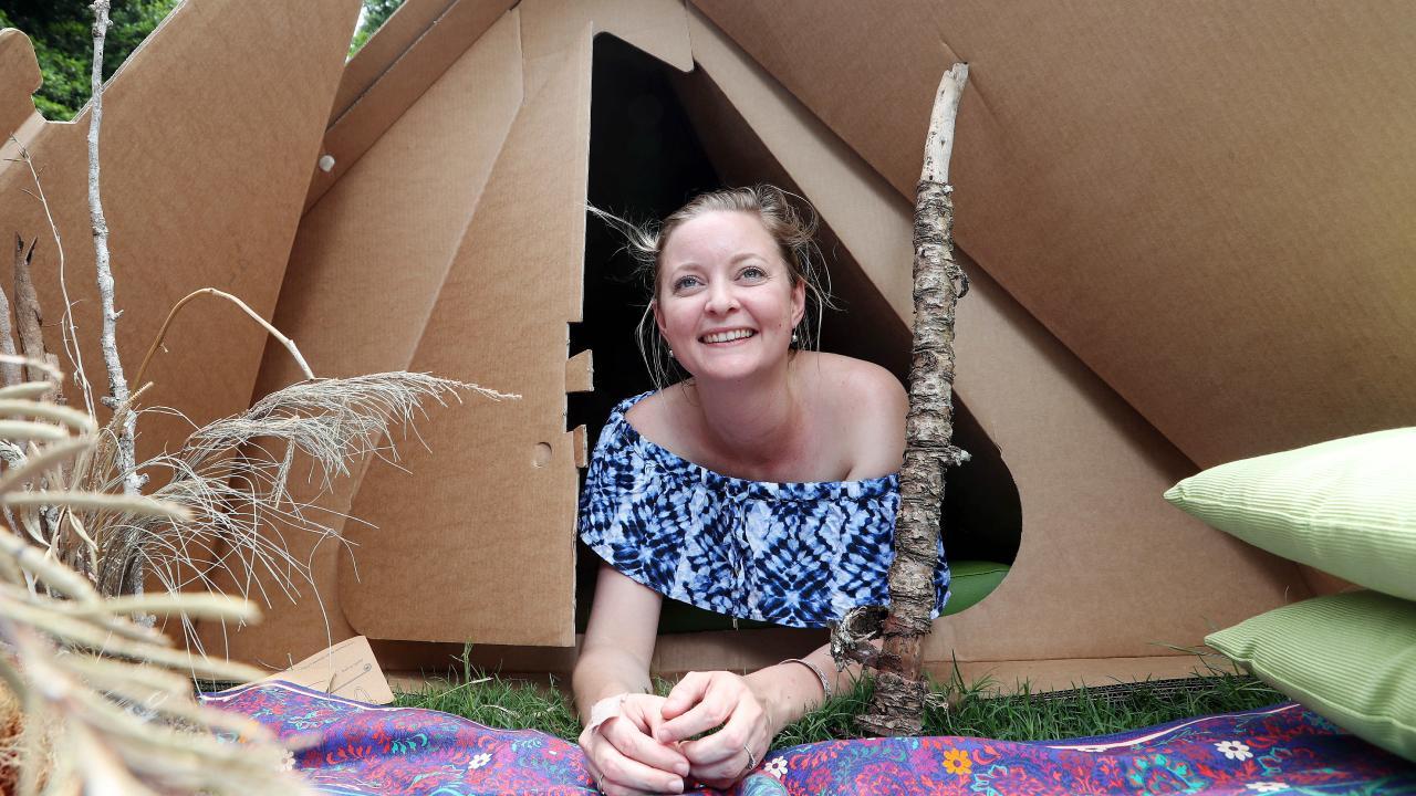 Hannah De Vries, 28, in a KarTent ahead of the Woodford Folk Festival. Picture: Tara Croser