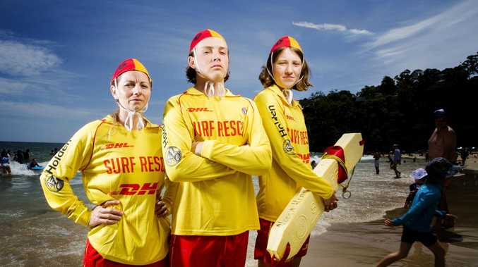 Noosa Lifesavers Renee Scully, Tim Moody and Tilly Giblett will be on full alert as Surf Life Saving Queensland warns about the dangers on the beaches this Summer. Picture: Lachie Millard