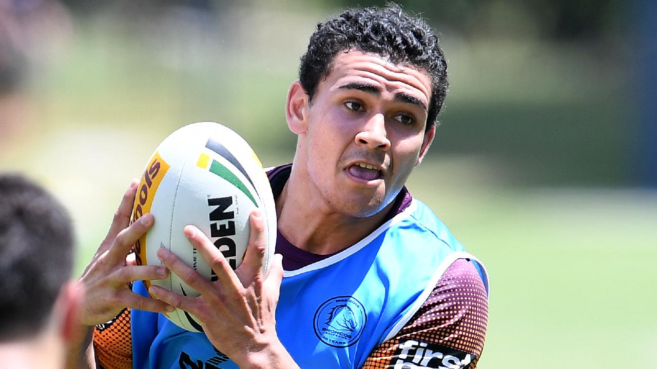 Brisbane Broncos newcomer Izaia Perese during preseason training.