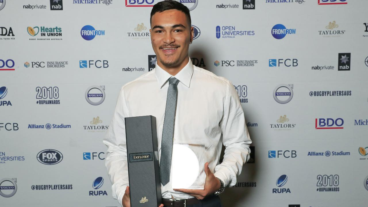 Jordan Petaia poses after receiving the NRC Players' Player of The Year Award at the Ivy.