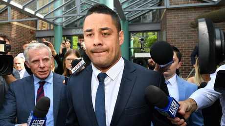 Jarryd Hayne leaves Burwood Local Court in Sydney on December 10. Picture: AAP
