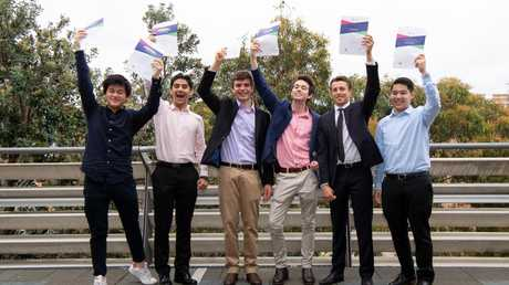 Alexander Desmond Yao, Eric Pavlou, Jack Zimmerman, Alexander Crawford, Richard Palumbo & Joshua Mok pictured after receiving their certificates for excellence. Picture: Monique Harmer