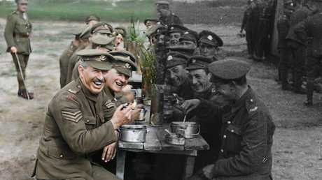 A scene from director Peter Jackson's WWI documentary, They Shall Not Grow Old.