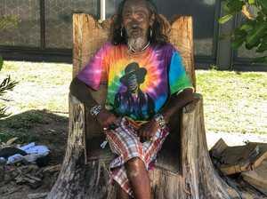 ROYALTY: Byron Bay carver Nu sitting on the Byron
