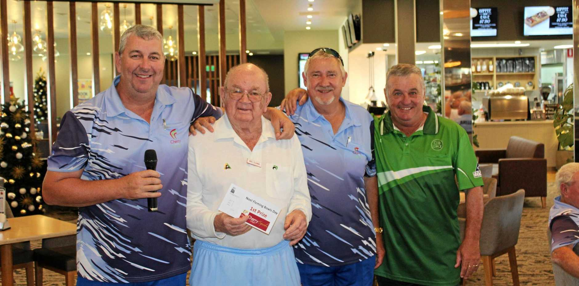 WINNERS ARE GRINNERS: The winners of the annual Flemmos Day bowls competition from left Alf Boston, Noel Flemming, Neil Burgess and Craig Teys. The fellows are busy preparing for the next big bowls event at Ballina - prestigious Summerland singles.