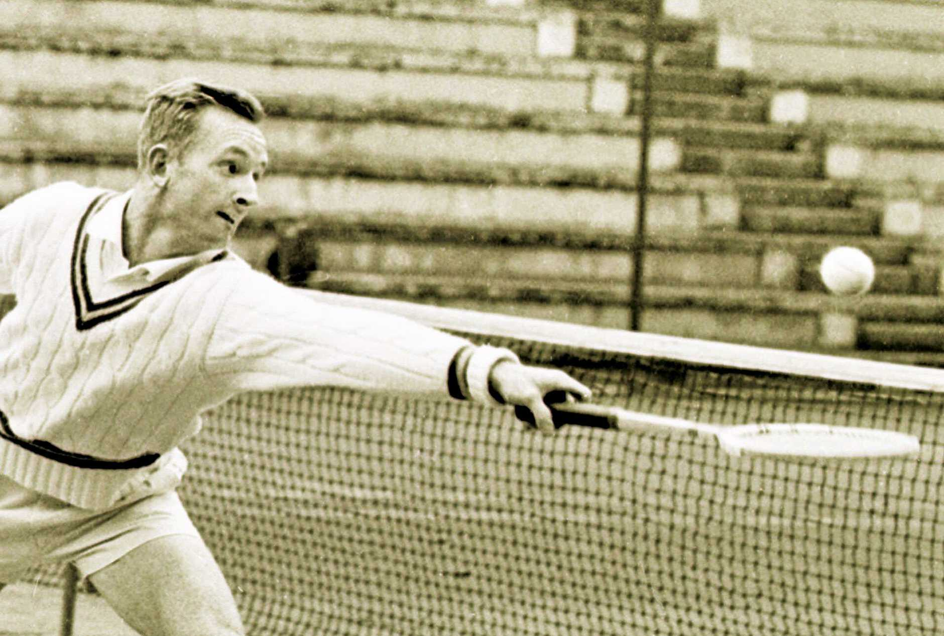 Australia's Rod Laver reaches to hit a return to Yugoslavia's Boro Jovanovic during their men's singles semi-final match in the Italian International Tennis Championship in Rome in this May 13, 1962 photo. Laver won 7-5, 9-7, 6-1. (AP Photo)