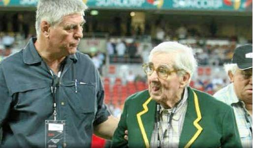 Duncan Hall walks with his son Duncan Hall Jnr prior to the RLWC Grand Final in 2008.
