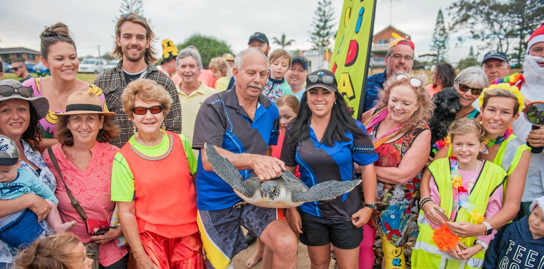 DIFFERENCE A YEAR MAKES: Woopi the turtle was released after a year in care with DMM with the Fluro Friday crew on Woolgoolga Main Beach.