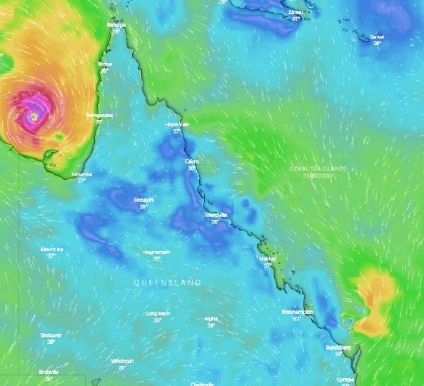 This map of QLD shows where TC Own's impact is being felt.
