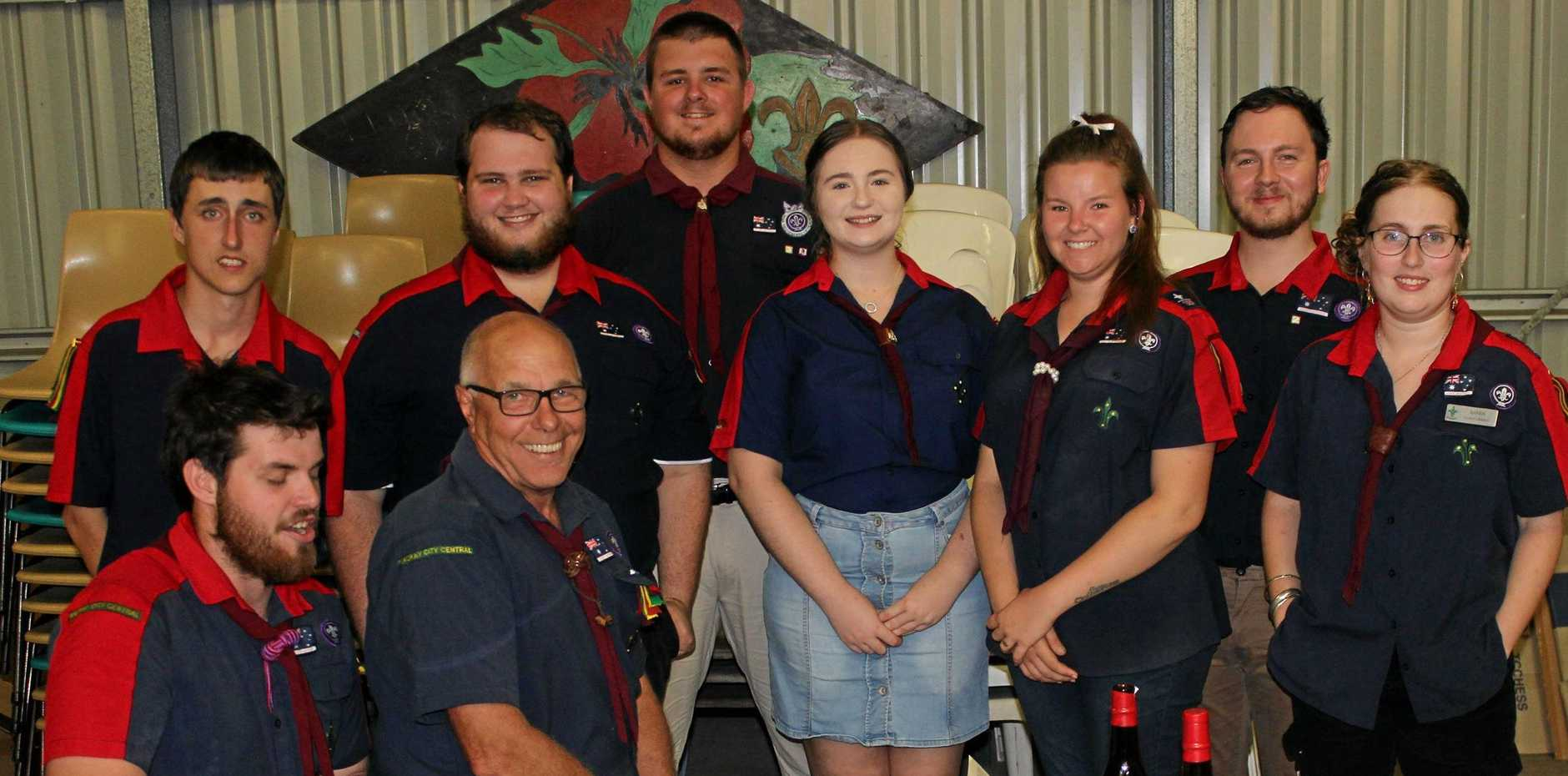 SPECIAL CEREMONY: Rover Scouts farewell their advisor Harry Rosestenburg (centre). From left, Conrad Lamb, Tristan Archibald, Tristan Gardner, Chelsea Cahill, Mel Whitestyles, Tim McIntyre and Ailsa Paterson Front Joshua Brzozowski and Harry Roestenburg.
