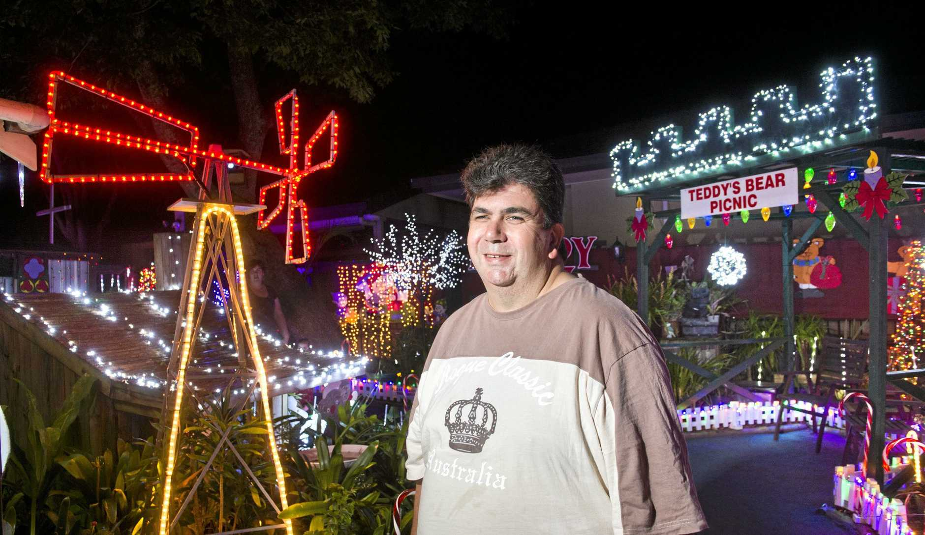 Len Eastwell with his Christmas lights at 98 Curzon St.