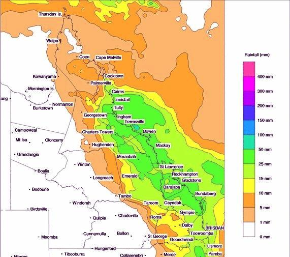 Sunday's predicted rain forecast for Queensland.