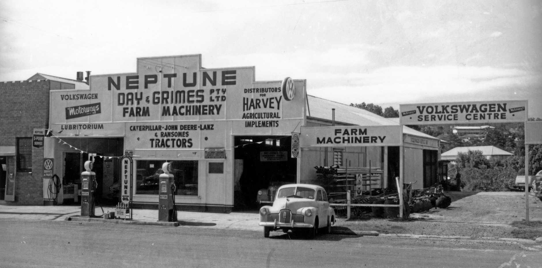 Motorways Neptune Garage and Farm Machinery Centre in Lowe St, Nambour, 1959.