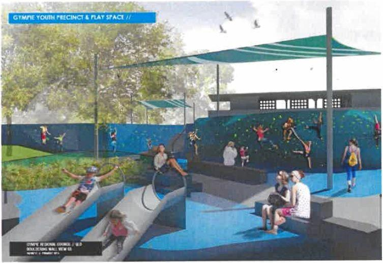 Artists sketches of the proposed youth precinct at the site of the Memorial Pool.