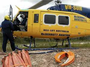 Coast mega-chopper flying into Tropical Cyclone Owen