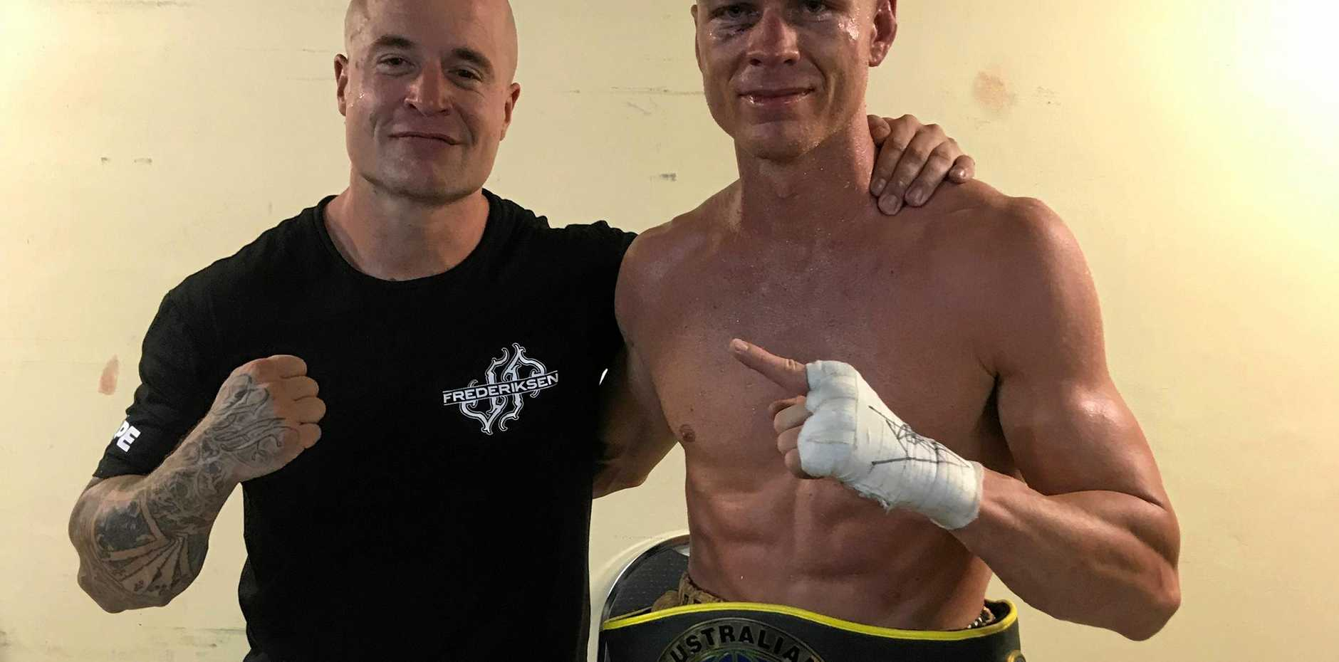 BOXING: Kingscliff Boxing Stables coach Nick Midgley with Kingscliff boxer Josh Frederiksen.